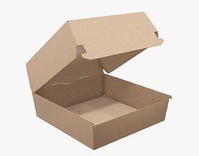 3D Empty fast food corrugated cardboard box open