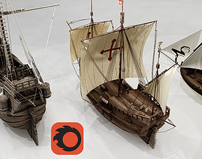 3D model Three Classic Ships