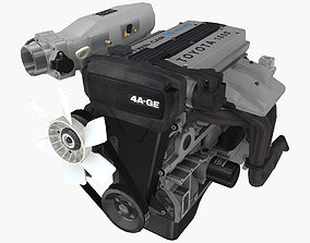 Toyota 4AGE Bluetop engine 3D model
