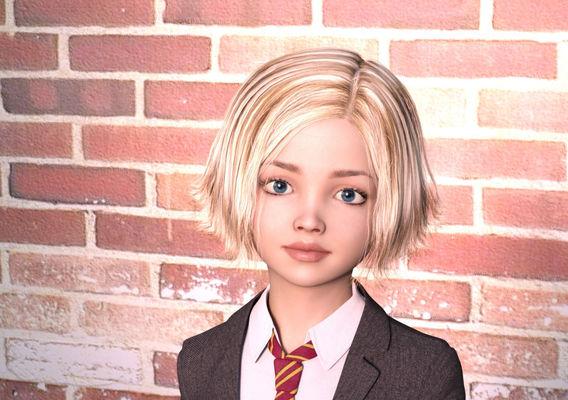 Cute little schoolgirl blonde version