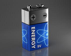 9 Volt Block Battery 3D asset