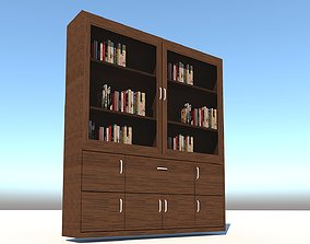 Bookcase cabinet with glass 3D model