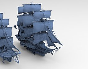 Manowar Fantasy Ship with Frigate Ship 3D model