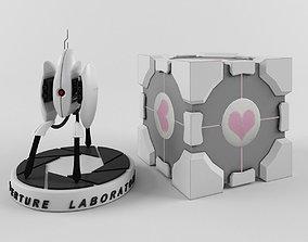 Portal turret and companion cube 3D