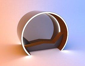 3D model Circular modern glow scifi bus stop