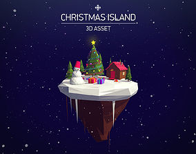 realtime Cartoon Low Poly Christmas Island Asset