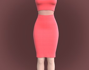 3D dress - pencil skirt and crop singlet top