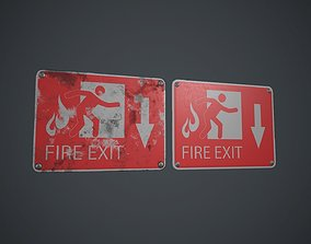 Plastic Exit Sign 4 PBR Game Ready 3D model