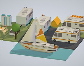 isometric transport holiday BBQ camping 3D model