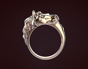 Horse ring 3D print model gold