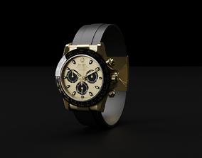 3D Rolex Cosmograph Daytona Gold and Black Luxury Watch