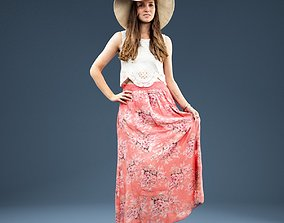 Woman in Pink Dress and Hat Holding Skirt 3D asset