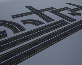 3D asset low-poly Modular Highway Road PBR