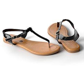 Black Toe Post Flat Sandals 3D model
