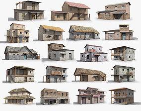19 Slum Collection Low-poly 3D model house