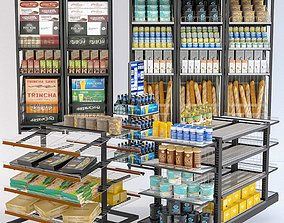 Grocery Display Rack Collection 3D model