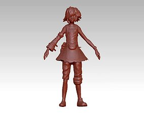 poor girl beautiful cartoon 3D print model