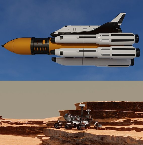 Space Shuttle and Mars Rover 3D models