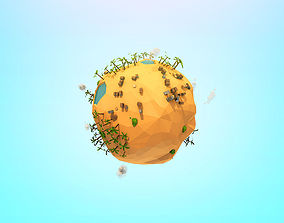 Cartoon Low Poly Sand planet 3D model
