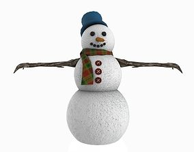 Snowman 3D model low-poly snowman