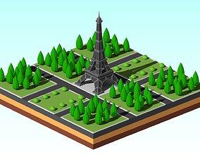 3D asset Cartoon Low Poly EiffelTower