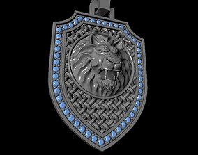 3D printable model Lion shield pendant and Bail