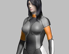 3D model low-poly Sci Fi Girl