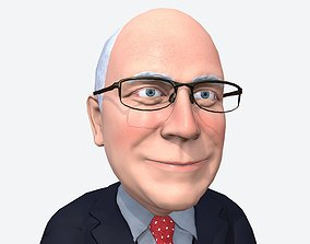 3D model Dick Cheney caricature rigged animated low poly 3