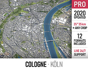 Cologne - Koln - city and surroundings 3D asset