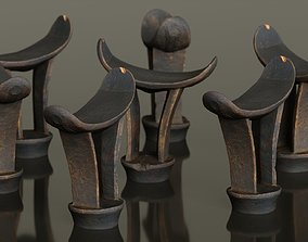 3D asset Headrest Africa Wood Furniture Prop 15