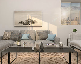 3D Fully equipped modern living room