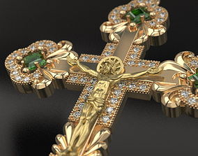 3D print model Diamond cross with crucifixion
