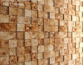 Mosaic wood panel 3D 4