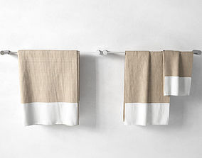 modern Towels on Racks 3D