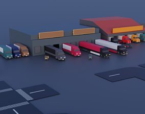 Low poly Factory package 3D asset