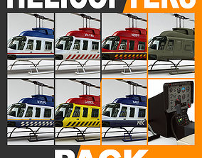 Helicopter Bell 206L Pack with Interior 3D model
