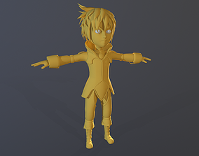 3D model lowpoly Stylized Character Unwrapped