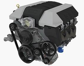 Chevrolet Camaro SS 2010 LS3 V8 engine 3D asset