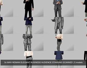 5x MAN WOMAN ELEGANT BUSINESS AUDIENCE STANDING 3D model