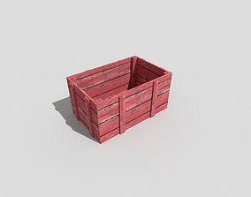 low poly wooden crate 3D asset game-ready