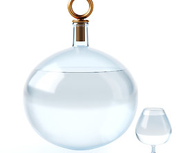 Glass round carafe and a glass of water 3D model