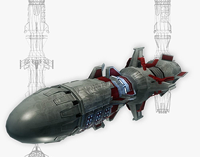 3D asset Missile 9 sci-fi low poly