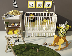 3D Ikea Children Cot and changing table Solgul