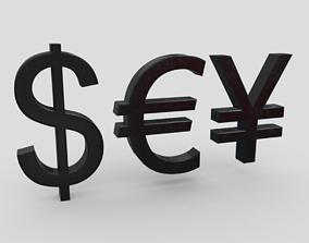 3D asset VR / AR ready Currency Symbols