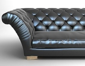 3D model Tufted Sofa with Wing Arms