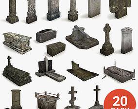 Lowpoly Gravestone 20 Pack 3D asset