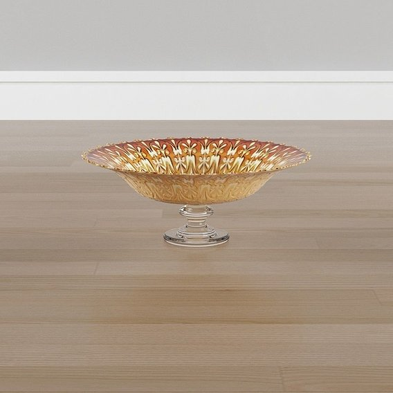Glass Gold Floral and Flourish Decorative Bowl