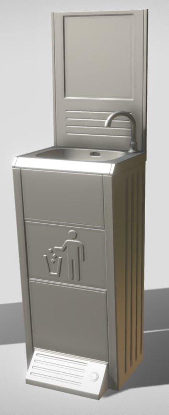 Modular Public Sink High-Poly (Version-2) Blender-2.92