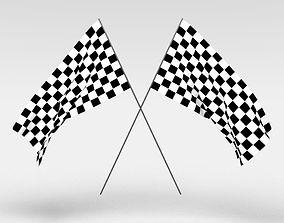 3D model Checkered flag for finish line or race