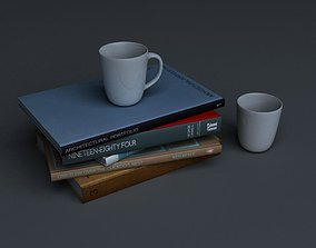 3D Stack of books and two mugs